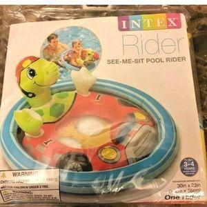 NEW- Intex-See Me Sit Pool Rider-Racecar Turtle